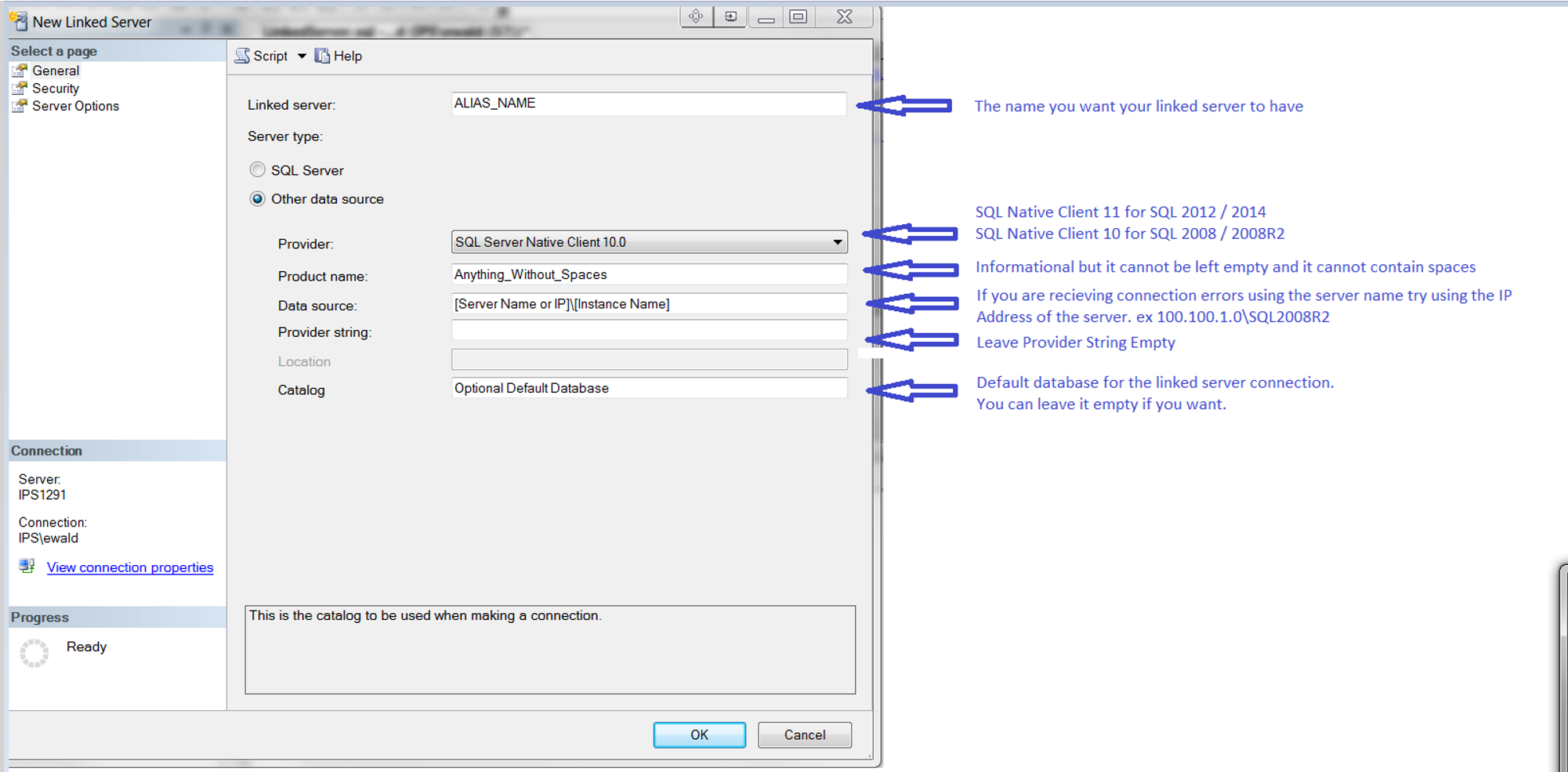 Linked Server Setup with Alias and SQL Server Agent support